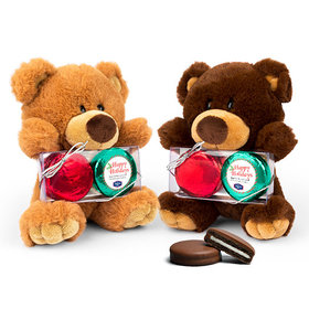 Personalized Christmas Stripes Teddy Bear with Chocolate Covered Oreo 2pk