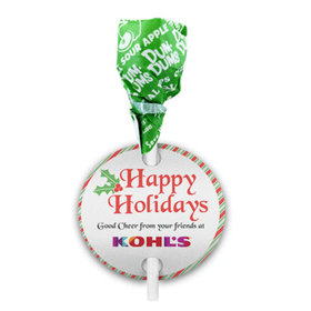 Personalized Christmas Stripes Dum Dums with Gift Tag (75 pops)