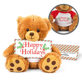 Personalized Christmas Stripes Teddy Bear with Embossed Chocolate Bar in Deluxe Gift Box