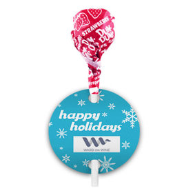 Personalized Christmas Snowflakes Dum Dums with Gift Tag (75 pops)