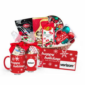 Add Your Corporate Logo Christmas Season's Greetings Candy Gift Basket