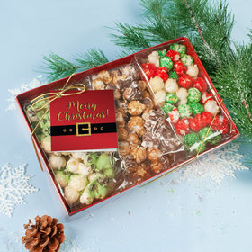 Personalized Christmas Santa Buckle Gourmet Popcorn 3pk Gift Box with Tag