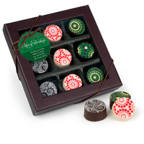 Merry Christmas Holiday Glitter Gourmet Belgian Chocolate Truffle Gift Box (9 Truffles)