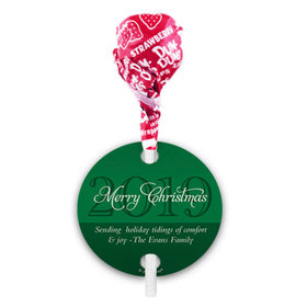 Personalized Christmas Merry Wishes Dum Dums with Gift Tag (75 pops)