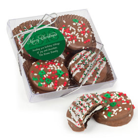 Personalized Christmas Holiday Glitter Gourmet Belgian Chocolate Covered Oreos 4pc Gift Box