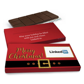 Deluxe Personalized Christmas Add Your Logo Chocolate Bar in Metallic Gift Box(3oz Bar)
