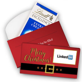 Deluxe Personalized Christmas Santa Buckle Add Your Logo Lindt Chocolate Bar in Gift Box (3.5oz)