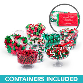 Personalized Merry Christmas Deluxe Candy Buffet - Containers Included