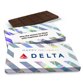 Deluxe Personalized Happy Holidays Add Your Logo Chocolate Bar in Metallic Gift Box (3oz Bar)