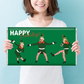 Personalized Christmas Dancing Elves Giant 5lb Hershey's Chocolate Bar