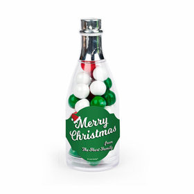 Personalized Christmas Retro Champagne Bottle with Sixlets Candies (25 Pack)