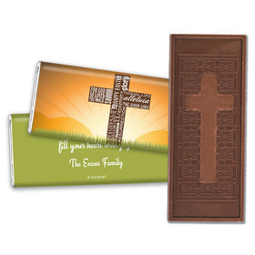 Easter Personalized Embossed Cross Chocolate Bar He Has Risen Cross at Sunrise