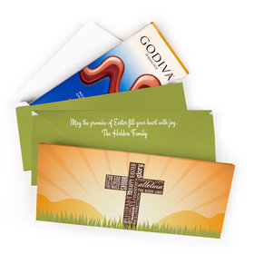 Deluxe Personalized Easter He Has Risen Cross at Sunrise Godiva Chocolate Bar in Gift Box (3.1oz)