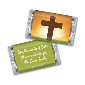 Easter Personalized Hershey's Miniatures Wrappers He Has Risen Cross at Sunrise