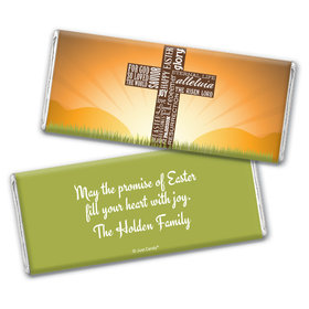 Easter Personalized Chocolate Bar Wrappers He Has Risen Cross at Sunrise