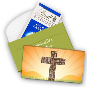 Deluxe Personalized He Has Risen Cross at Sunrise Lindt Chocolate Bar in Gift Box (3.5oz)