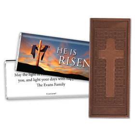 Easter Personalized Embossed Cross Chocolate Bar He Is Risen Shrouded Cross