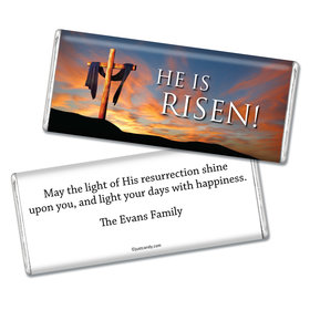 Easter Personalized Chocolate Bar He Is Risen Shrouded Cross