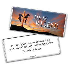 Easter Personalized Chocolate Bar Wrappers He Is Risen Shrouded Cross