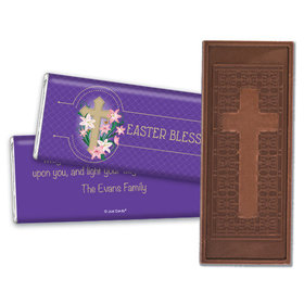 Easter Personalized Embossed Cross Chocolate Bar Oval Cross with Lilies