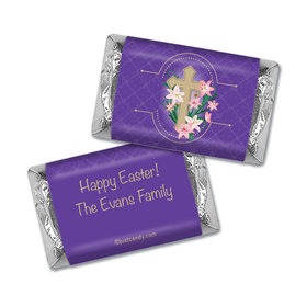 Easter Personalized Hershey's Miniatures Wrappers Oval Cross with Lilies