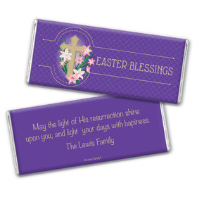Easter Personalized Chocolate Bar Wrappers Oval Cross with Lilies