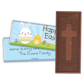 Personalized Easter Embossed Chocolate Bar Bunny and Chick Peeps
