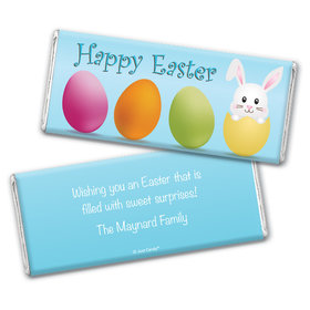 Easter Personalized Chocolate Bar Wrappers Hatched a Bunny