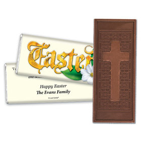 Easter Personalized Embossed Cross Chocolate Bar Gold Easter with John 11:25