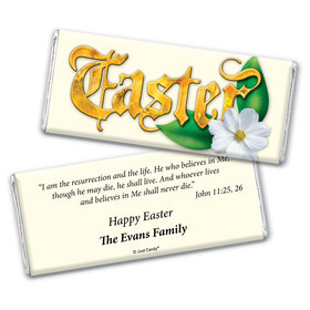 Easter Personalized Chocolate Bar Wrappers Gold Easter with John 11:25