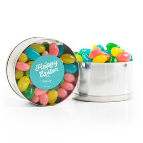 Personalized Easter Chevron Egg Spring Mix Jelly Beans Small Plastic Tin