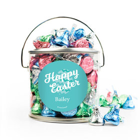 Personalized Easter Chevron Egg Silver Paint Can with Sticker - 1lb Spring Mix Kisses
