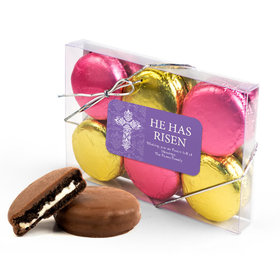 Personalized Easter Purple Cross 6PK Gold & Pink Belgian Chocolate Covered Oreo Cookies