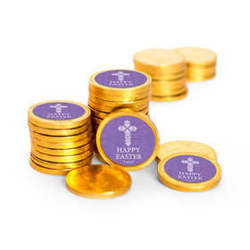 Easter Purple Cross Chocolate Coins with Stickers (84 Pack)