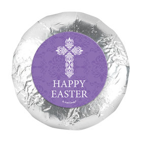 "Personalized Easter Purple Cross 1.25"" Stickers (48 Stickers)"