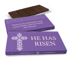 Deluxe Personalized Easter Purple Cross Chocolate Bar in Gift Box (3oz Bar)