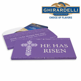 Deluxe Personalized Easter Purple Cross Ghirardelli Chocolate Bar in Gift Box