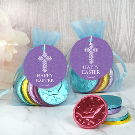 Easter Purple Cross Chocolate Coins in XS Organza Bags with Gift Tag