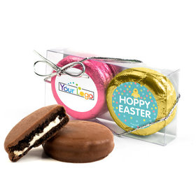 Add Your Logo Easter Blue Dots 2Pk Pink & Gold Foiled Belgian Chocolate Covered Oreo Cookies