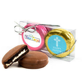Add Your Logo Easter Blue Cross 2Pk Pink & Gold Foiled Chocolate Covered Oreo Cookies