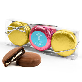 Personalized Easter Blue Cross 3PK Pink & Gold Foiled Belgian Chocolate Covered Oreo Cookies