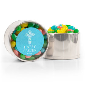 Personalized Easter Blue Cross Spring Mix Jelly Beans Medium Plastic Tin