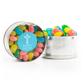 Personalized Easter Blue Cross Spring Mix Jelly Beans Small Plastic Tin