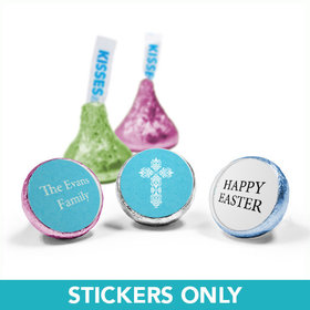 "Personalized Easter Blue Cross 3/4"" Sticker (108 Stickers)"