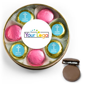 Add Your Logo Easter Blue Cross Chocolate Covered Oreo Cookies Large Plastic Tin