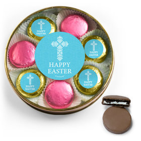 Personalized Easter Blue Cross Belgian Chocolate Covered Oreo Cookies Large Plastic Tin