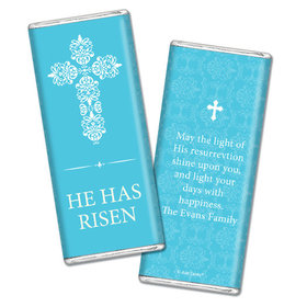 Personalized Easter Blue Cross Chocolate Bar & Wrapper