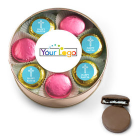 Add Your Logo Easter Blue Cross Chocolate Covered Oreo Cookies Extra-Large Plastic Tin