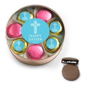 Personalized Easter Blue Cross Belgian Chocolate Covered Oreo Cookies Extra-Large Plastic Tin