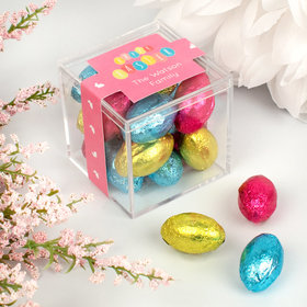 Personalized Easter Egg Party JUST CANDY® favor cube with Palmer Easter Eggs